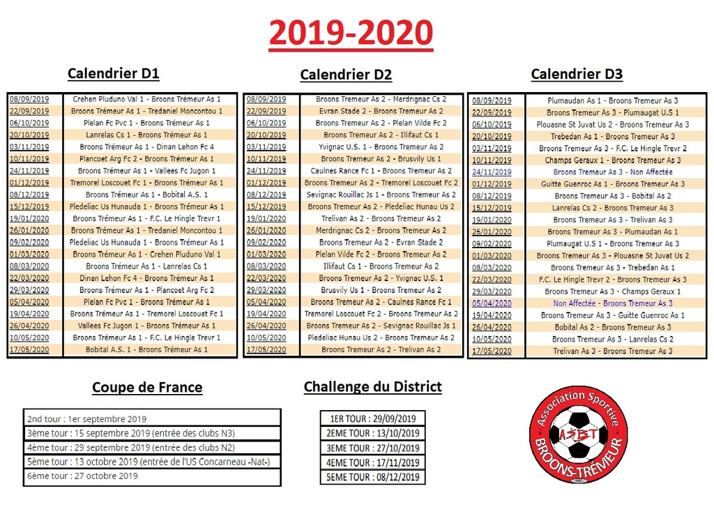Calendrier Foot 2019 2020.Calendriers 2019 2020 Championnats Et Coupes As Broons Tremeur